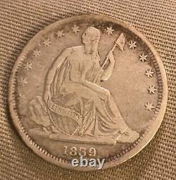 1839 No Drapery, seated Liberty half dollar, VF, scarce date