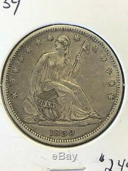1839 Seated Liberty Half Dollar, With Drapery, High Grade Coin