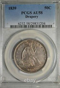 1839 Seated half dollar, with Drapery, PCGS AU58