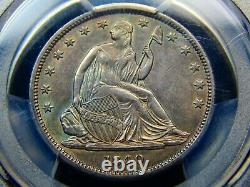 1840 50C Seated Liberty Half Dollar Reverse of 1839 AU-55 PCGS, Touch of Color