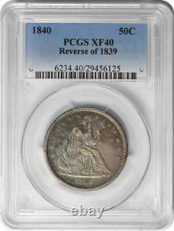 1840 Liberty Seated Silver Half Dollar Reverse of 1839 EF40 PCGS