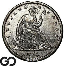 1842 Seated Liberty Half Dollar, Sm Date, Lg. Letters, Choice AU+ Better Date