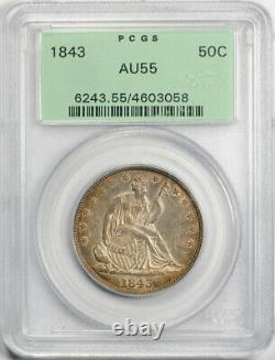 1843 50C Seated Liberty Half Dollar PCGS AU 55 About Uncirculated OGH Toned N