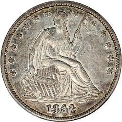 1844 50c PCGS AU53 Flashy AU! Liberty Seated Half Dollar Flashy AU