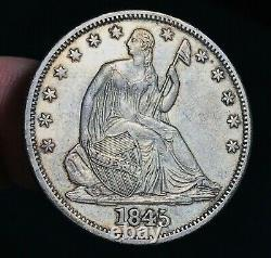 1845 O Seated Liberty Half Dollar 50C WB 106 TRIPLED DATE Silver US Coin CC6000