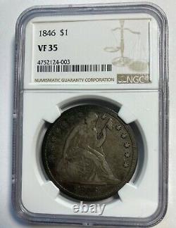 1846 Seated Liberty Dollar NGC VF35 No Motto Type