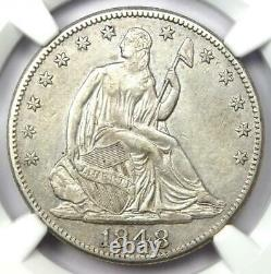 1848-O Seated Liberty Half Dollar 50C Certified NGC AU Detail Rare Date Coin