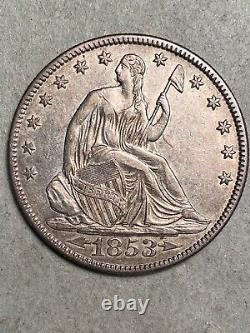 1853 Arrows and Rays Seated Liberty Silver Half Dollar AU+