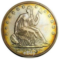 1853 Au To Unc Arrow & Rays Seated Liberty Half Dollar Key Date 49