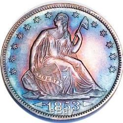 1853 Au/bu Arrow & Rays Seated Liberty Half Dollar Key Date 190