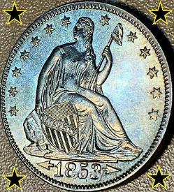 1853 Liberty Seated Silver Half Dollar (a & R) Bu Doubled-die Reverse (fs-801)