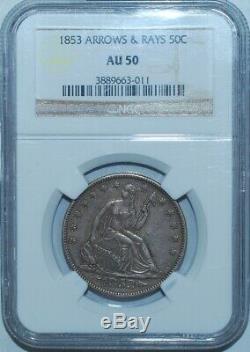 1853 NGC AU50 Arrows and Rays Liberty Seated Half Dollar
