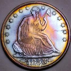 1853 O Au Arrow & Rays Seated Liberty Half Dollar Key Date 287