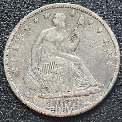 1853 Seated Liberty Half Dollar 50c High Grade XF + Details #29272