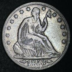 1853 Seated Liberty Silver Half Dollar CHOICE VF FREE SHIPPING E253 KHM