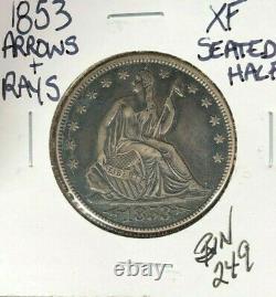 1853 Seated Liberty Silver Half Dollar Xf Arrows&rays
