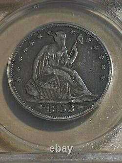 1853 US Seated Liberty Arrows and Rays Half Dollar Graded F15 by ANACS