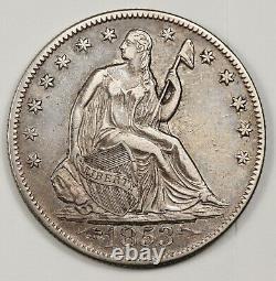 1853-o Seated Liberty Half. Error Die Crack By Stars Obverse. X. F. 143084