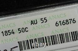1854 Arrows Seated Half Dollar, ANACS AU-55