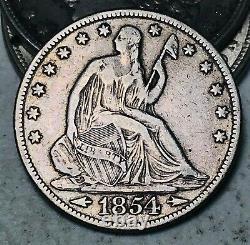 1854 Seated Liberty Half Dollar 50C Arrows Choice Good 90% Silver US Coin CC7789