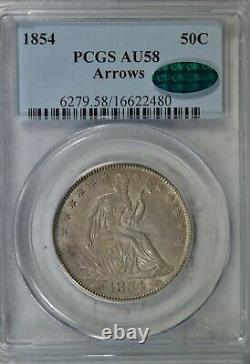 1854 Seated half dollar, Arrows, PCGS AU58 CAC