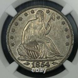 1854 with Arrows Seated Liberty Silver Half Dollar NGC AU 55