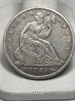 1855-O New Orleans Mint Silver Seated Half Dollar with Arrows