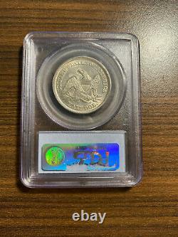 1856-P Seated Liberty Silver Half Dollar 50C PCGS AU 55 Type 2, No Motto