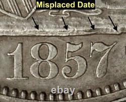 1857 Liberty Seated Silver Half Dollar Mpd (wb-102) R4 (very Scarce)