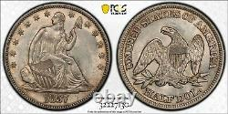 1857 Seated Liberty Half Dollar Pcgs Ms 63 Lustrous Silvery White Touch Of Amber