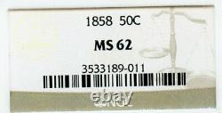 1858 Liberty Seated Half Dollar, NGC MS62