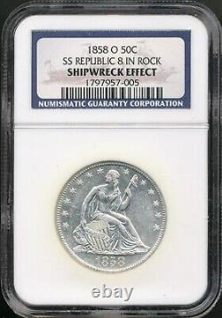 1858-O Seated Liberty Half 8 In Rock Variety NGC Shipwreck Effect SS Republic