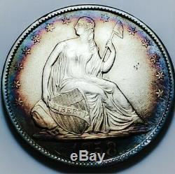 1858 O Seated Liberty Half Dollar Toning! Tough Date 609