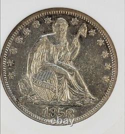 1858-S Liberty Seated Half ANACS AU50 MPD