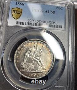 1858 Seated Liberty 50c AU58 PCGS Monster Toned. PQ! Looks MS