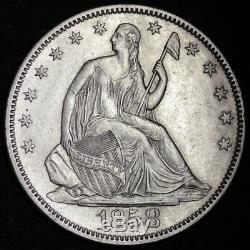 1858 Seated Liberty Half Dollar CHOICE AU+/UNC FREE SHIPPING E339 RLM