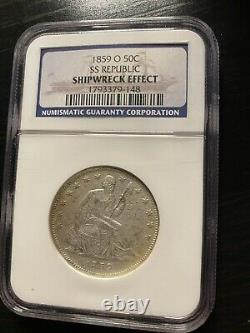1859 O Seated Liberty Half Dollar SS Republic NGC Shipwreck Effect AU/UNC Detail