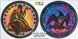 1859 Proof+++ Pr++ Seated Liberty Half Dollar Nice Rainbow Proof / Pcgs