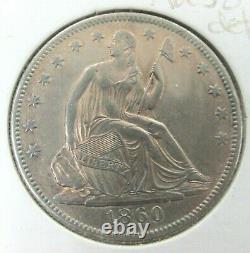 1860-O New Orleans Seated Liberty Silver Half Dollar AU Orange Color T9