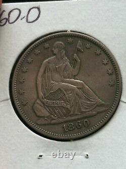 1860-O Seated Liberty Half Dollar 50c XF+ / Almost Uncirculated AU Details