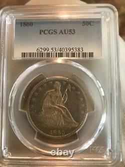 1860 seated Liberty half dollar, about uncirculated, pcgs 53, scarce
