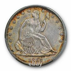 1861 50C Seated Liberty Half Dollar PCGS MS 62 Uncirculated Civil War Date Ce