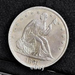 1861 Liberty Seated Half Dollar Ch AU Details (#35035)