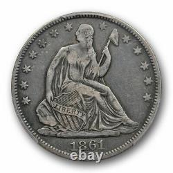 1861 O 50C CSA Obverse Seated Liberty Half Dollar PCGS VF 25 Very Fine Looks