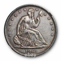 1861-O 50C Speared Olive Seated Liberty Half Dollar NGC AU Details WB 104