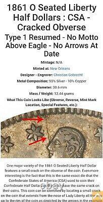 1861-O 50c CSA Obv Seated Liberty Half Dollar Fine Det CONFEDERATE! Lot#T923