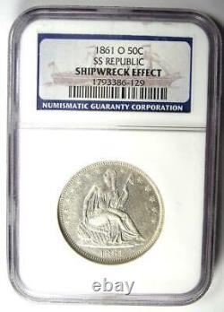 1861-O Seated Liberty Half Dollar 50C. NGC SS Shipwreck AU / UNC Detail