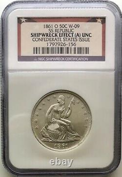 1861-O Seated Liberty Half Dollar CONFEDERATE W-09 SS Republic Shipwreck (A) UNC