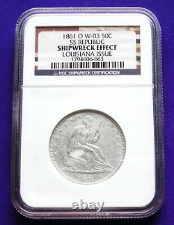 1861-O Seated Liberty Half Dollar SS Republic NGC Shipwreck Effect Louisiana