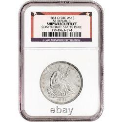 1861 O US Seated Liberty Silver Half Dollar 50C NGC Shipwreck Effect SS Republic
